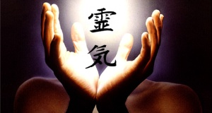 Reiki symbol and hands