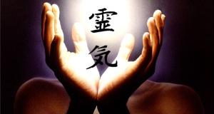 Reiki symbol and hands